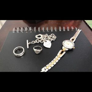 Tiffany braclet and Tiffany rings & Charger watch